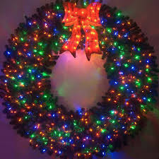 entranching outdoor lighted wreath on large pre lit designs