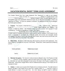 Short Term Rental Agreement