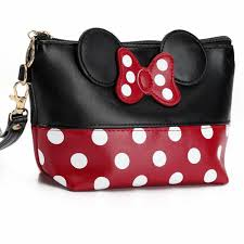 cartoon minnie make up bag fashion large capacity bow tie cosmetic bags traffic kit women dots makeup bag toiletry kit in cosmetic bags cases from luge