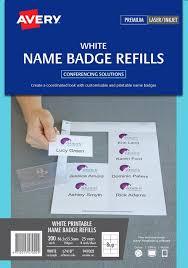 Name Badge Kit Refill Avery Laser L7418 White 8 Per Sheet Pk25