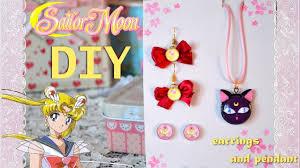 diy sailor moon earrings and pendant luna pi polymer clay