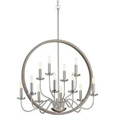 progress lighting fontayne 12 light brushed nickel shaded chandelier