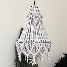 beaded chandelier white by raw decor