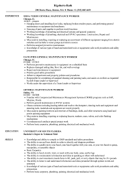Resume Templates General Maintenance Worker Sample Awful For Format