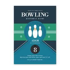 Bowling Party Birthday Invitation Card