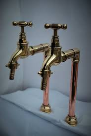 brass copper belfast kitchen sink tall bib taps old reclaimed