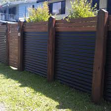 corrugated metal fence. Wood And Corrugated Metal Fence