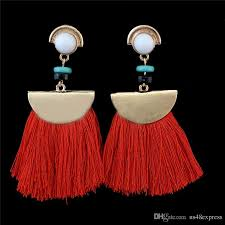 acrylic bead drop dangle chandelier red color tassel pendant women earrings gift 2017 brand new design fashion earrings jewelry from china dangle