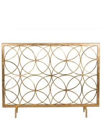 modern antique gold patina circles iron fireplace screen 41 x
