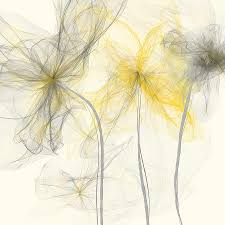 Yellow Painting - Yellow And Gray Flowers Impressionist by Lourry Legarde