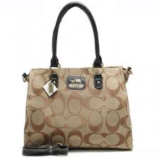 Coach Top Zip In Signature Large Khaki Satchels AOZ