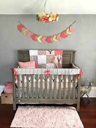 baby girl crib bedding woodland nursery set custom tulip fawn meadow flowers pebble birch baby crib bedding