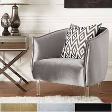 eclectic living room furniture. Beautiful Living Vianne Velvet Curved Back Acrylic Leg Accent Chair By INSPIRE Q Bold For Eclectic Living Room Furniture T