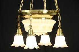 victorian antique 1900 brass chandelier 5 etched glass shades