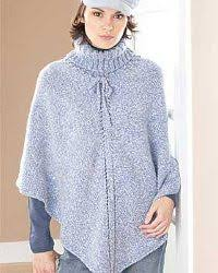 Free Knitted Poncho Patterns Inspiration Pretty Turtleneck Poncho FaveCrafts