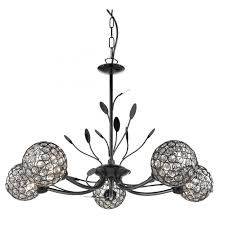 bellis ii black chrome 5 light ceiling fitting with clear glass shades