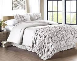 ruffle duvet cover collection 3 piece waterfall ruffle duvet cover set queen gray white ruffle duvet