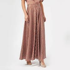 Diane Von Furstenberg Womens High Waisted Draped Maxi Skirt Baker Dot Small Sienna
