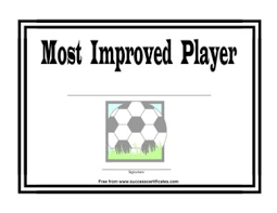 Most Improved Player Certificate One Certificate