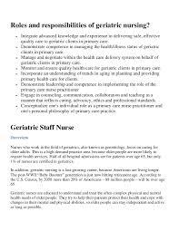 Geriatric Nursing Roles And Responsibilities Of Geriatric Nursing