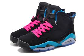 air jordan shoes for girls black. girls new air jordan 6 retro south beach black dynamic blue white vivid pink 2015- shoes for a