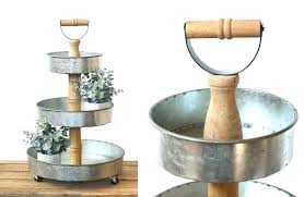 galvanized metal 3 tier stand wood wooden three tray farmhouse and barnyard decor kitchen home gold serving