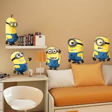 Minion Bedroom Wallpaper Aliexpresscom Buy 3d Cartoon Despicable Me Minions Wall Sticker