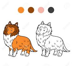 coloring book kids colored guide and black and white ilration of a dog