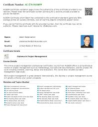 alison project management diploma transcript adam rad  certificate number ac2765610699 alison certificate validation page proves the authenticity of the certificate