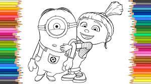 Despicable Me 3 Agnes with a Minion Coloring Pages l Coloring ...