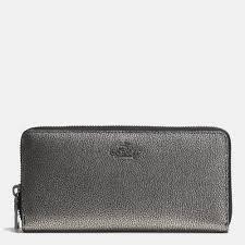 Lyst - Coach Accordion Zip Wallet In Metallic Caviar Calf Leather in ...