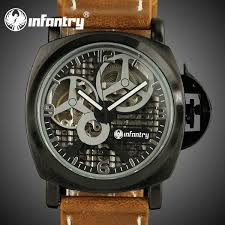 us stock infantry men s watches classic vintage style brown us stock infantry men s watches classic vintage style brown leather hand winding mechanical skeleton wrist watch