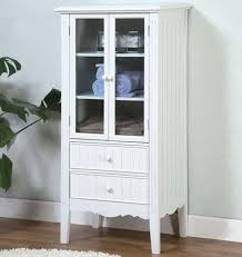 storage cabinet with doors and drawers. White Storage Cabinet With Glass Doors For Bathroom In Vintage Style And  Completed Two Drawers C