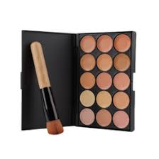 whole 2016 fashion15 colors face makeup concealer palette wood handle flat angled brush make up set kit top quality