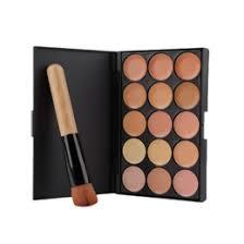 whole 2016 fashion15 colors face makeup concealer palette wood handle flat angled brush make up set kit top quality
