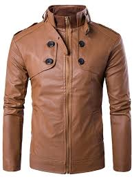 s stand collar zip up ons design pu leather jacket