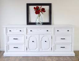 Vintage Dresser Makeover in White Chalk Paint and Oil Rubbed