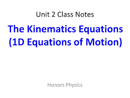 1 unit 2 class notes honors physics the kinematics equations 1d equations of motion