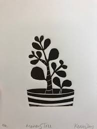 Kerry Day | <b>Money tree</b> | Open Edition Linocut Print | Plant Art | Tree Art