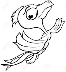 Flying Bird Outlined Cartoon Illustration Vector
