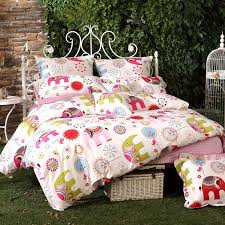 green yellow red white and pink jungle themed cute animal elephant print hip hop style girly girls twin full queen size bedding sets