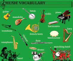 Besides being the only strung instrument played solely by the wind, the aeolian harp is the only stringed instrument that plays solely harmonic frequencies. Learn English Vocabulary Through Pictures Musical Instruments Eslbuzz Learning English
