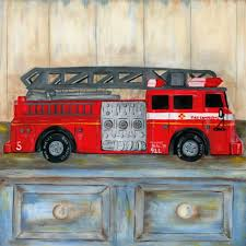 remarkable fire truck wall art firetruck kids firefighter room decor prints set canvas pottery barn