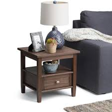 simpli home warm shaker farmhouse brown storage end table