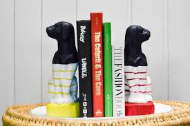 Wes Anderson Inspired Preppy Dog Bookends
