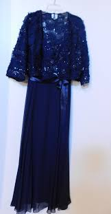 Patra Dress Size Chart Patra Blue Embellished Gown And Jacket Long Formal Dress Size 14 L