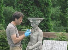 easy way to age new cement statues tutorial using quikrete brand bonding adhesive