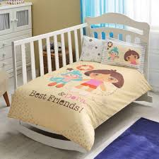 100 organic cotton dora soft and healthy baby cot bed duvet cover set 4 pcs 8696048410028