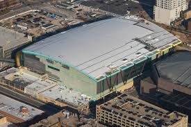arena is 68 complete glass inserts on the east side of the building are