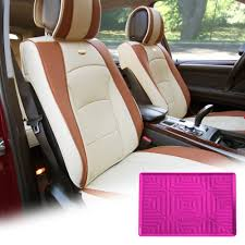 fh group beige pu leather front bucket seat cushion covers for auto car suv truck van with hot pink dash mat combo com